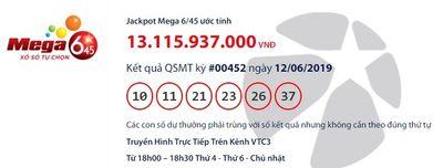 """Kết quả xổ số Vietlott hôm nay 12/6/2019: Jackpot hơn 13  tỷ vẫn """"vô chủ"""" - ảnh 1"""