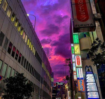 Cận cảnh bầu trời Nhật Bản đổi màu tím kỳ lạ trước khi siêu bão Hagibis đổ bộ - ảnh 1