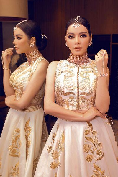 Lý Nhã Kỳ diện váy dát vàng, đeo trang sức triệu USD dự sinh nhật của tỷ phú Ấn Độ - ảnh 1