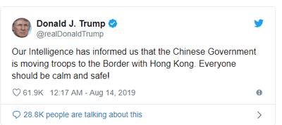 Tổng thống Trump: Trung Quốc đang điều quân tới sát sườn Hong Kong - ảnh 1