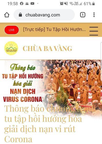 """Trụ trì chùa Ba Vàng bày cách """"hóa giải"""" virus corona gây viêm phổi cấp? - ảnh 1"""