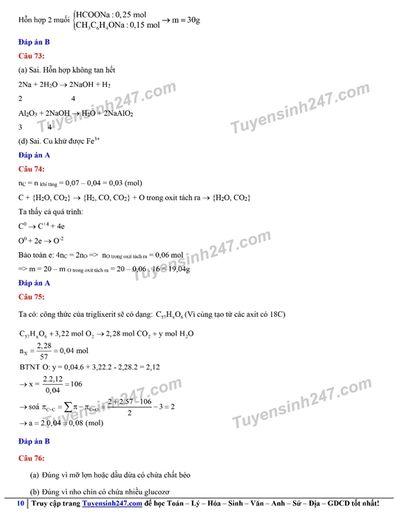 Đáp án gợi ý đề thi môn Hóa học kỳ thi tốt nghiệp THPT 2020 - ảnh 1