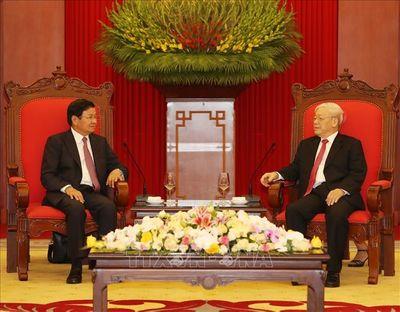 Tổng Bí thư, Chủ tịch nước Nguyễn Phú Trọng tiếp Thủ tướng Lào thăm chính thức Việt Nam - ảnh 1