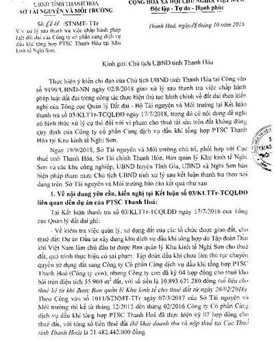 Vụ PTSC Thanh Hóa cho thuê đất trái pháp luật: Lãnh đạo tỉnh Thanh Hóa chỉ đạo Sở TN&MT làm việc với Tổng cục Quản lý đất đai - ảnh 1