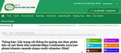 Cảnh báo quảng cáo lừa đảo người tiêu dùng có liên quan đến sản phẩm ZEAMBI Drops Multi – Vitamins  - ảnh 1