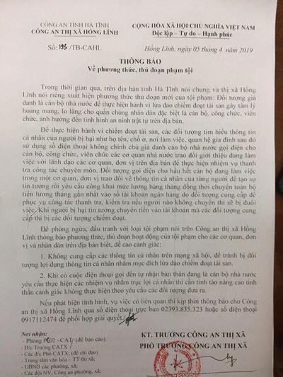 Hà Tĩnh: Cảnh báo tình trạng giả danh thanh tra bộ đi lừa đảo - ảnh 1
