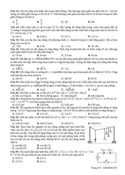 Đáp án đề thi môn Vật lý mã đề 215 THPT quốc gia 2019 chuẩn nhất, chính xác nhất - ảnh 1