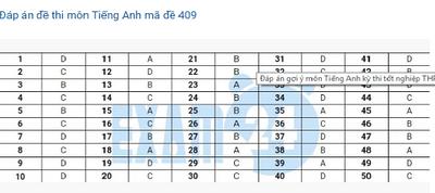 Đáp án đề thi môn tiếng Anh mã đề 409 THPT quốc gia 2019 chuẩn nhất, nhanh nhất - ảnh 1