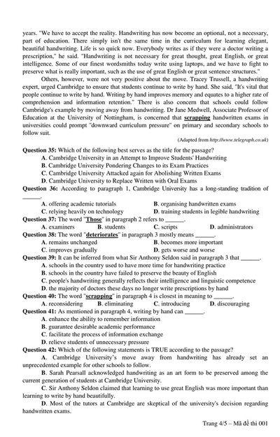 Đáp án đề thi môn tiếng Anh mã đề 413 THPT quốc gia 2019 chuẩn nhất - ảnh 1