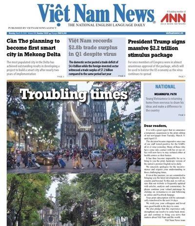 Việt Nam News tạm dừng xuất bản báo in đến 15/4 vì phóng viên nhiễm Covid-19 - ảnh 1