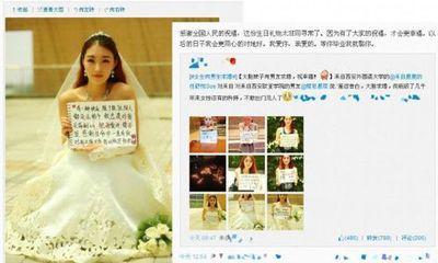 Nữ sinh mặc váy cưới, cầm biển gửi lời nhắn cầu hôn bạn trai