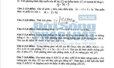 Đáp án đề thi ĐH - Đáp án đề thi Cao đẳng môn Toán khối A, A1, B, D năm 2014