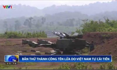 Clip: Bắn thử thành công tổ hợp tên lửa phòng không do Việt Nam tự cải tiến