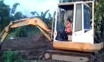 Video: Cậu bé 3 tuổi lái máy xúc siêu đẳng khiến mọi người choáng váng