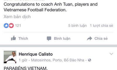 HLV Calisto chúc mừng chiến tích của U19 Việt Nam