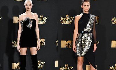 Cara Delevingne tự tin với đầu trọc, Emma Watson tỏa sáng trên thảm đỏ MTV Movie & TV Awards 2017