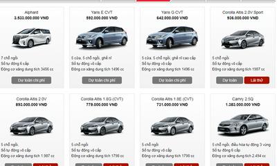 Bảng giá xe Toyota mới nhất tháng 10 tại Việt Nam