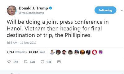 Ông Trump thông báo lịch trình ngày làm việc cuối cùng tại Việt Nam trên Twitter