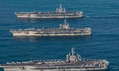Bất chấp lời đe dọa từ Triều Tiên, 3 siêu tàu sân bay Mỹ phô diễn sức mạnh