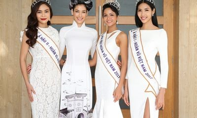 Hoa hậu Dayana Mendoza diện áo dài Việt tuyệt đẹp, đọ sắc cùng Top 3 HHHV Việt Nam