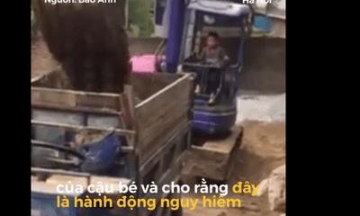 Bé trai 10 tuổi tự lái máy xúc khiến dân mạng 'đứng tim'