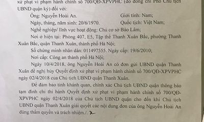 Hà Nội: UBND quận phải đình chỉ quyết định vì xử phạt lỗi không có thực