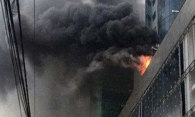 Video:Cháy lớn tại toà nhà đang xây ở Cầu Giấy, Hà Nội