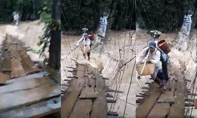 Video: Thót tim cảnh mạo hiểm vượt nước lũ bằng cầu treo ở Lâm Đồng