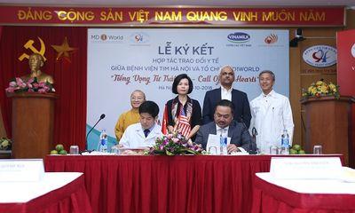 """Lễ ký kết hợp tác trao đổi y tế giữa MD1World và bệnh viện Tim Hà Nội – chương trình """"Tiếng vọng từ trái tim"""""""