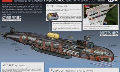 Nga hạ thuỷ tàu ngầm hạt nhân có thể trang bị siêu ngư lôi 'Thần biển' Poisedon