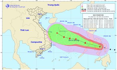 Cảnh báo bão Phanfone giật cấp 11 đang tiến vào Biển Đông
