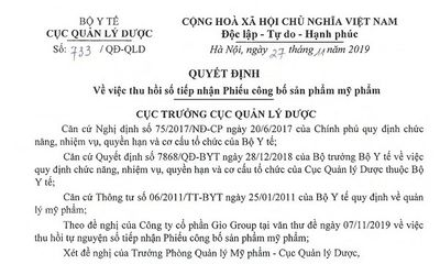 Thu hồi số tiếp nhận Phiếu công bố sản phẩm mỹ phẩm của Công ty Gio Group