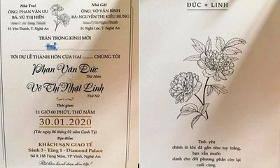 Thông điệp đặc biệt in trong thiệp cưới của cầu thủ Phan Văn Đức
