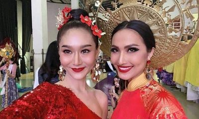 Quốc phục đỏ rực, đầy quyền lực của Hoài Sa ở Hoa hậu Chuyển giới Quốc tế 2020
