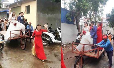 Màn rước dâu độc - lạ bằng xe tự chế, người xung phong đi đầu mới thu hút hơn cả