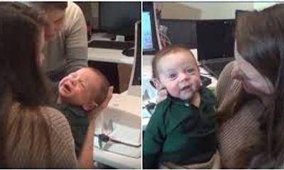 Tan chảy trước biểu cảm hạnh phúc của em bé khiếm thính lần đầu nghe giọng nói của bố mẹ