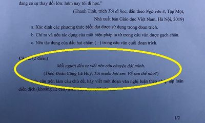 Đề thi Ngữ văn lớp 10 THPT chuyên đại học Sư phạm Hà Nội: Nghị luận xã hội ra dưới dạng mở