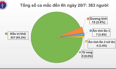 Sáng 20/7, không ghi nhận ca mắc mới COVID-19, số người cách ly chống dịch giảm còn hơn 11.600
