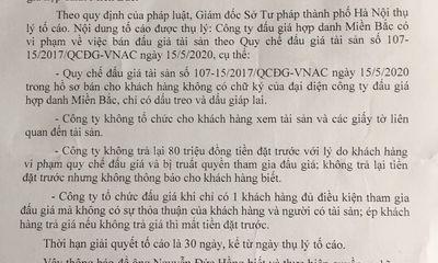 Công ty Đấu giá hợp danh Miền Bắc bị tố vi phạm Luật Đấu giá tài sản: Giám đốc Sở Tư pháp TP Hà Nội thụ lý tố cáo