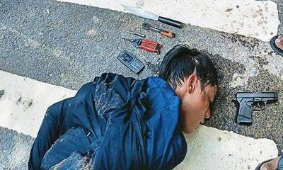 Hiện trường vụ tên trộm xe máy rút súng bắn trả người truy đuổi ở Bình Dương