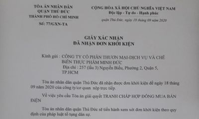 TP. HCM: Công ty Minh Đức khởi kiện Điện lực Thủ Đức ra tòa vì đơn phương ngừng cấp điện