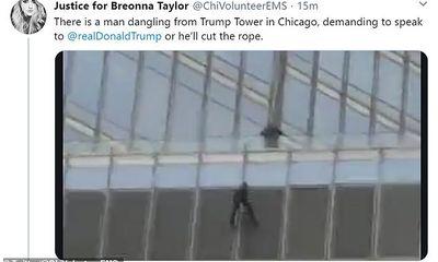 Bầu cử Mỹ 2020: Người ủng hộ treo mình ở tầng 16 tòa tháp Trump vì muốn được gặp tổng thống Mỹ