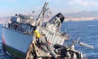 Tàu săn mìn hải quân Hy Lạp gãy làm đôi, đuôi vỡ thành nhiều mảnh
