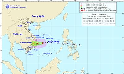 Bão số 12 di chuyển nhanh, gây mưa lớn cho các tỉnh miền Trung và Nam Trung Bộ