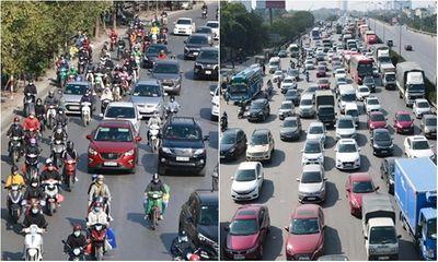 Ngày đầu nghỉ Tết Dương lịch, bến xe, đường trên cao ở Hà Nội