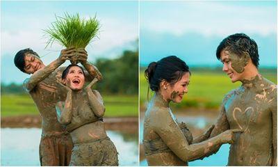 Đằm mình dưới bùn chụp ảnh cưới, cô dâu chú rể hé lộ lý do chụp ảnh tại nơi