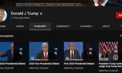 Kênh Youtube của Tổng thống Trump bị khoá nhiều tính năng quan trọng