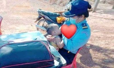 Nữ trung tá cảnh sát đăng ảnh cho con bú giữa giờ làm khiến dư luận dậy sóng ở Campuchia