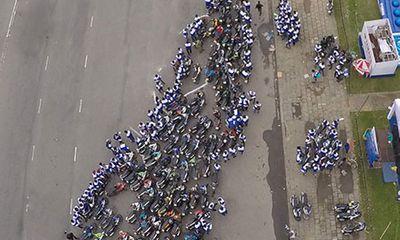 Độc đáo bản đồ Việt Nam tạo nên từ hàng trăm biker
