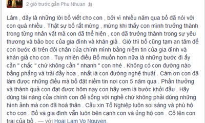 """Hoài Linh viết """"tâm thư"""" cảm ơn con trai Hoài Lâm"""